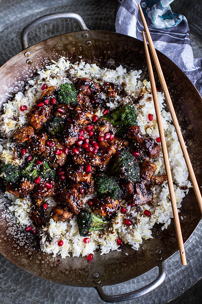 Pomegranate-Sesame Chicken With Ginger Rice Pilaf