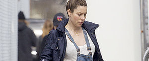 Jessica Biel Can't Hide Her Baby Bump in Overalls