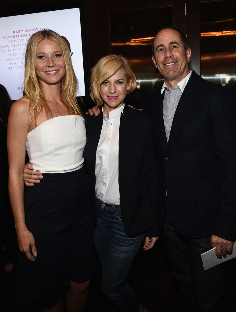 Gwyneth Paltrow posed with Jerry and Jessica Seinfeld at a Baby Buggy event in LA on Wednesday.