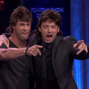 Chris Hemsworth and Hugh Jackman in Mullets on Jimmy Fallon