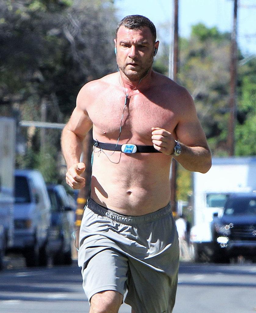 Liev Schreiber ran shirtless through LA on Friday.