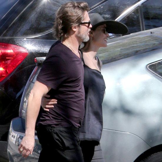 Brad Pitt and Angelina Jolie Kissing at a Soccer Game