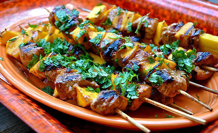 Grilled Pork and Mango Skewers