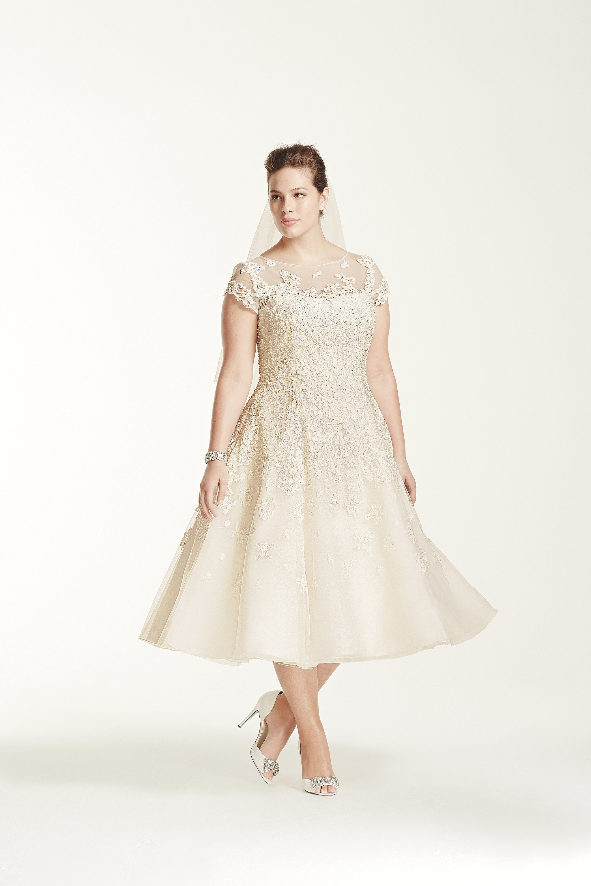 Oleg Cassini Collection Cap Sleeve Wedding Dress