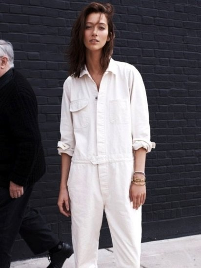 Model-Off-Duty Style: The White Utility Jumpsuit