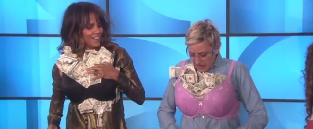 Watch Halle Berry and Ellen DeGeneres Stuff Their Bras With Cold, Hard Cash