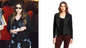 Pregnant Or Not, Jessica Biel's Leather Moto Jacket Is A Good Look