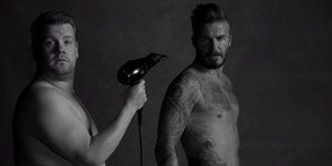 David Beckham, James Corden Strip Down For Sultry (Fake) Underwear Line Ad