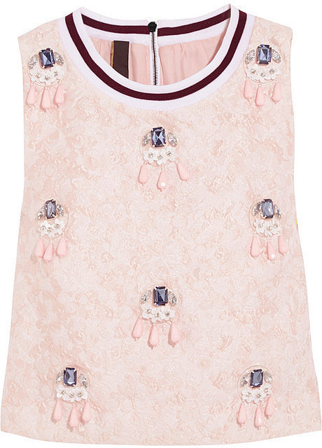 Mother of Pearl Morley Cropped Embellished Cloqué Top