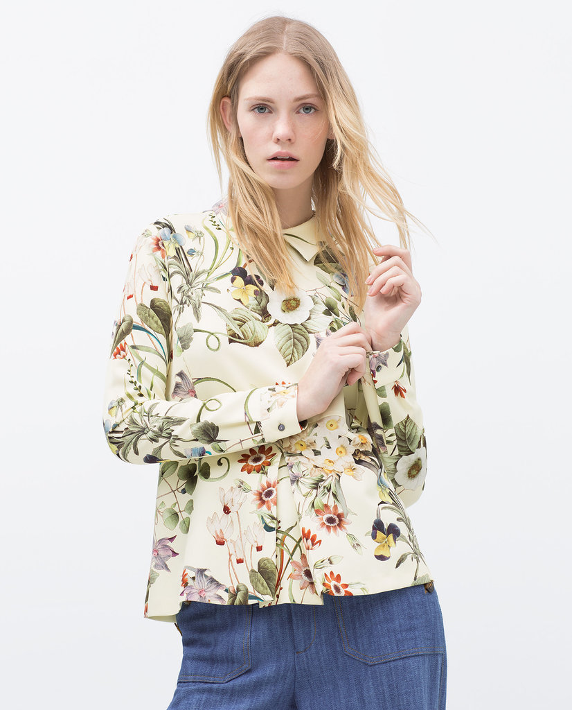 Zara Printed Peplum Top