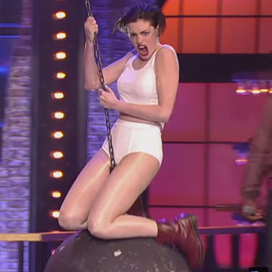 "OMG! Anne Hathaway Goes All Out For Her ""Wrecking Ball"" Lip Sync Performance"