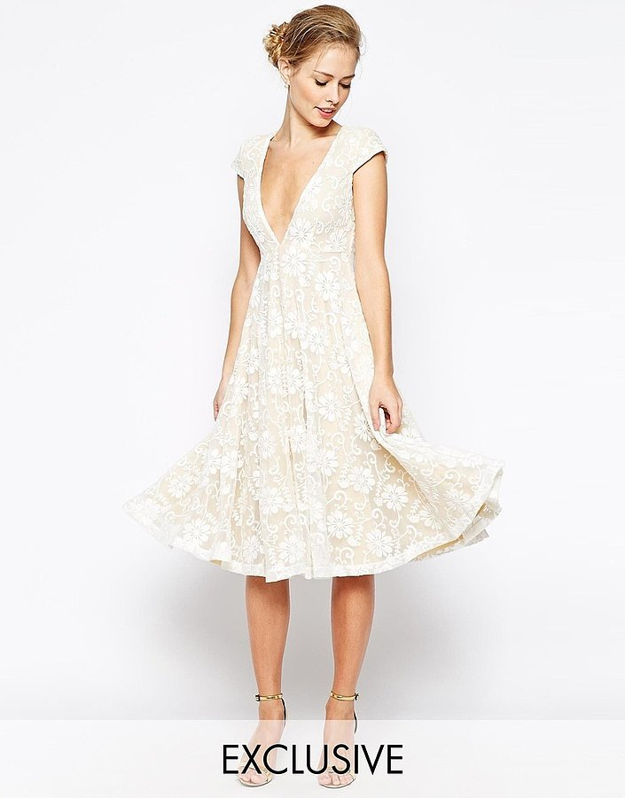 Jarlo Hartley Lace Midi Dress With Plunge Neckline ($154)
