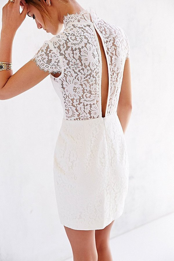 Keepsake Run The World Lace-Top Shift Dress ($180)