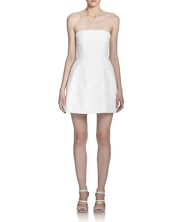 Alice + Olivia Salma Strapless Eyelet Dress ($465)