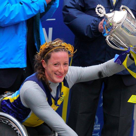 Boston Marathon Winner Gives Her Wreath to Bombing Victims