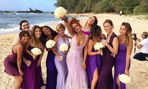 Rihanna Kind of Upstaged the Bride with Her Bridesmaid Dress