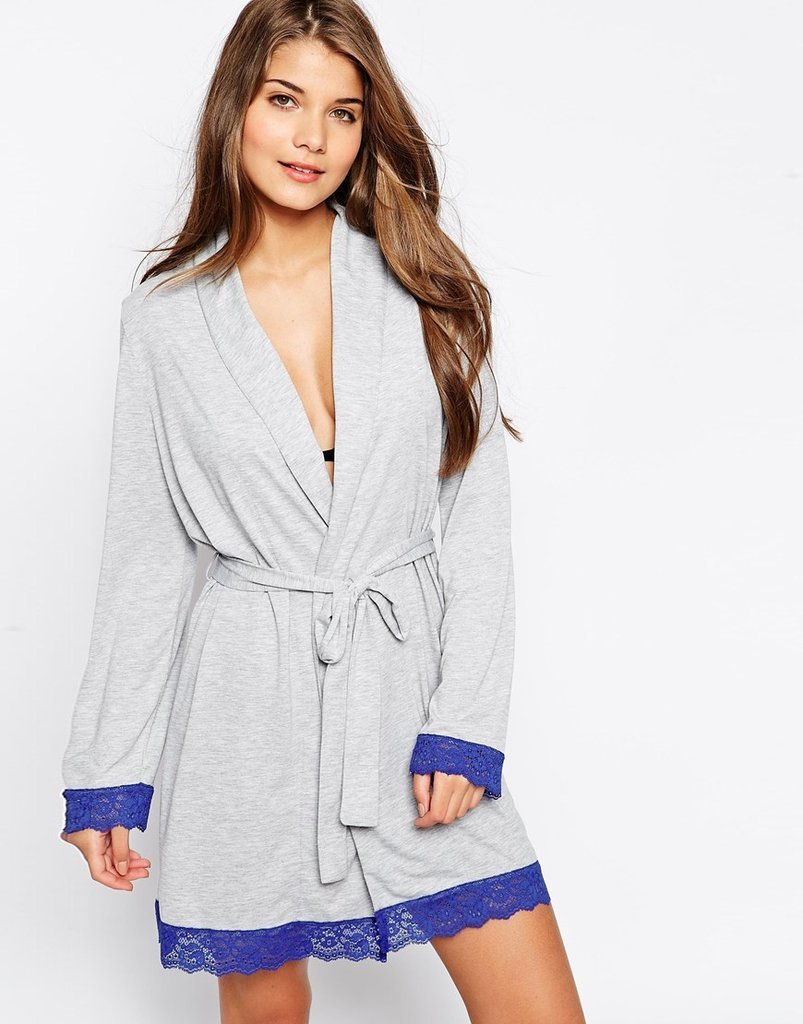 Let Mom unwind in style with this pretty lace-trimmed robe.  Asos Collection Lace Trim Jersey Robe ($46)