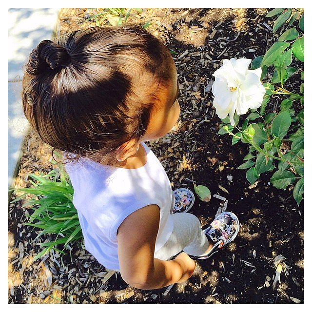 North smelled the flowers during a morning walk with her mom.