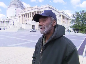 Homeless Man Works in the Capitol and Sleeps on the Sidewalk