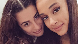 Ariana Grande & Lea Michele Mess Around on 'Scream Queens' Set
