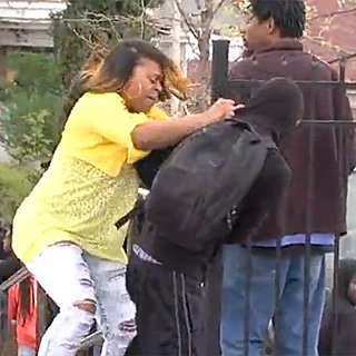 Mom Stops Son From Throwing Rocks in Baltimore Riot