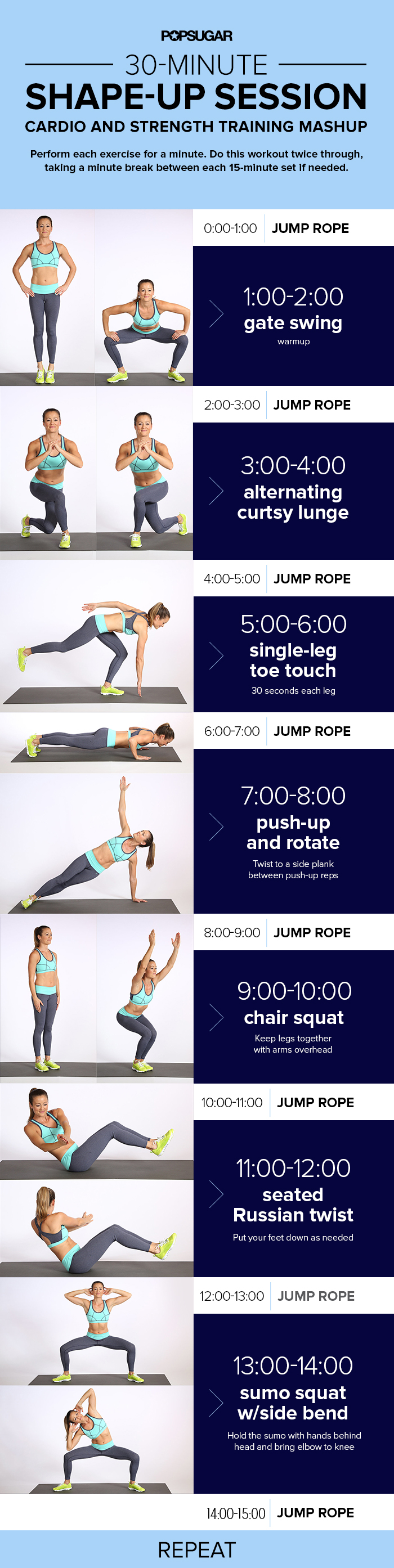 Printable Workout: 30 Minutes Cardio and Strength Training ...