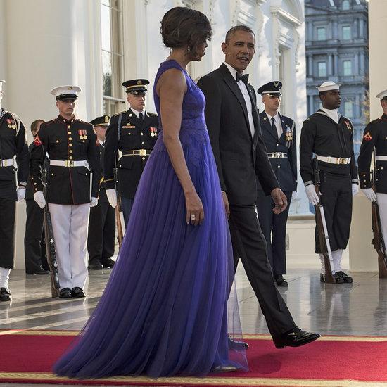 Michelle Obama Wearing Tadashi Shoji Dress