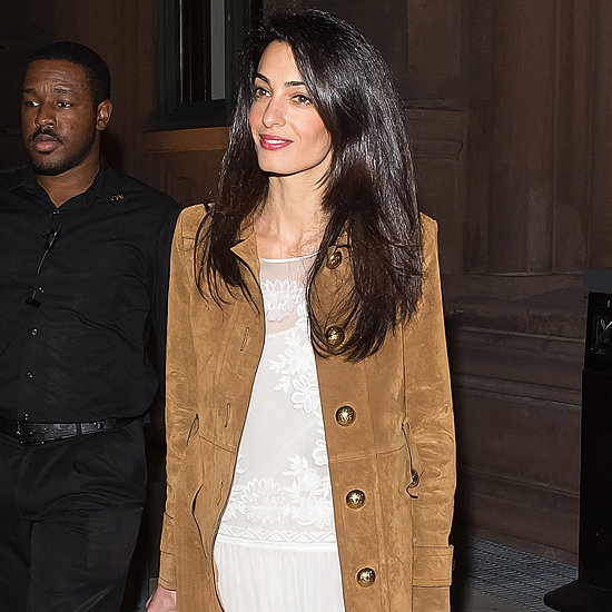 Amal Clooney Wearing a Gucci Suede Coat 2015