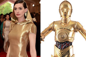 8 Things Anne Hathaway Looked Like At The Met Gala