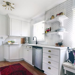 Small Kitchen Makeover With White and Brass Details
