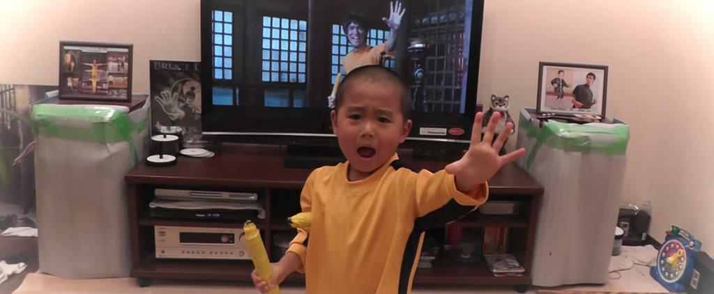 5-Year-Old Kid Perfectly Re-Creates Bruce Lee's Famous Nunchaku Scene