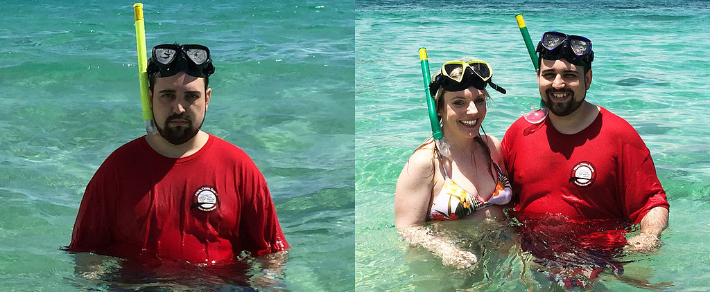 Husband Missing His Wife in Puerto Rico Re-Creates Vacation Photos With Whole Family