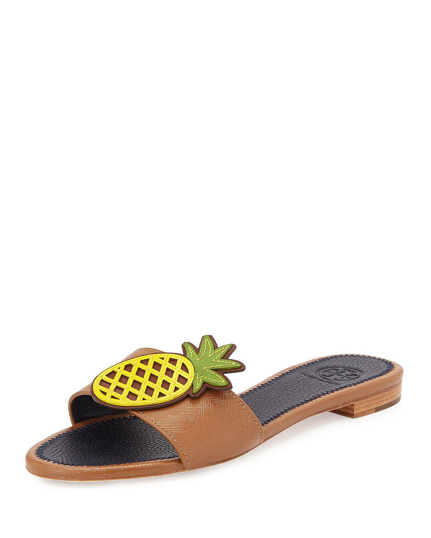 Tory Burch Pineapple Leather Flat Sandal