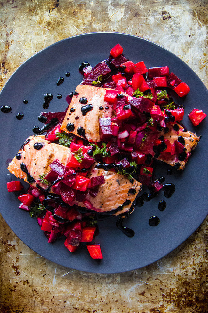 Grilled Salmon With Beet Blood Orange Relish