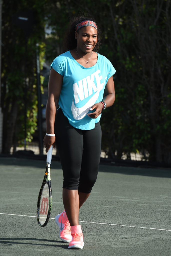 Serena Williams channeled a classic sportif look on the court in 2015.