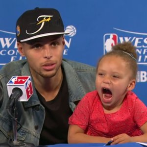 Funny Video of Stephen Curry's Daughter in Press Conference