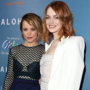 Emma Stone and Rachel McAdams at Aloha LA Premiere