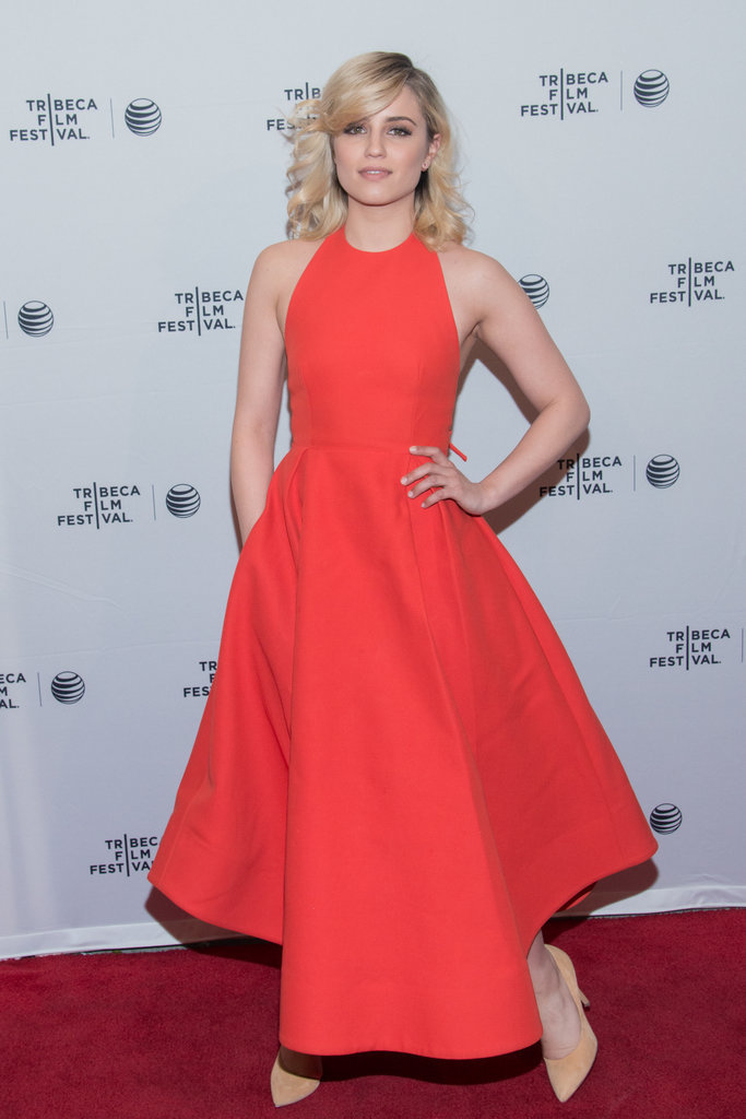 Dianna Agron dressed up in a red-hot halter dress on the red carpet for her film Bare.