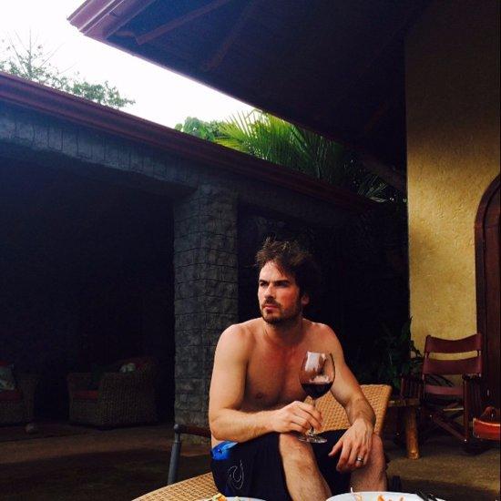 Ian Somerhalder Shirtless Wine Photo