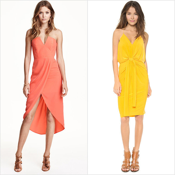 H&M We admit that pushing through the mall staple's overflowing racks and corners can be overwhelming in general and, at times, downright frustrating if you're looking for something very specific. For the low blood pressure, cruise to their site to see formal options (like the above strapless dress, $50). Tibi The editor-favorite label is routinely counted on for simple-but-sophisticated tops and day dresses you could live in. Brides looking for a minimal style would do well to check out the silky dresses typically on tap here (like this baby blue pleated halter dress, $795). T-Bags Known for comfortable jersey maxis that could easily become your Summer uniform, the length and bright hues (like the knee-length dress with knot details, $180) make them worth of a look if you're getting married on the beach or want a more casual feel.