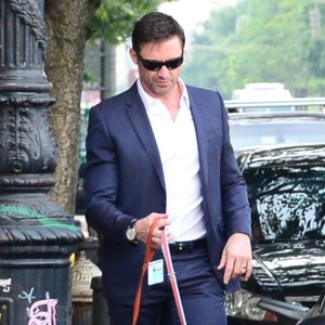 Pictures of Hugh Jackman Walking His Dog in a Suit