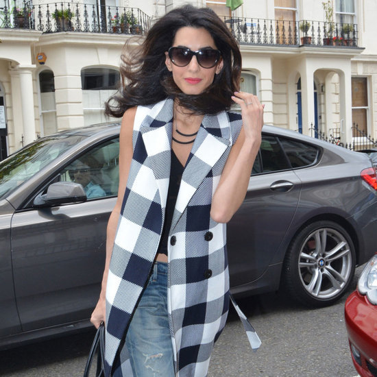Amal Clooney Checked Vest Outfit