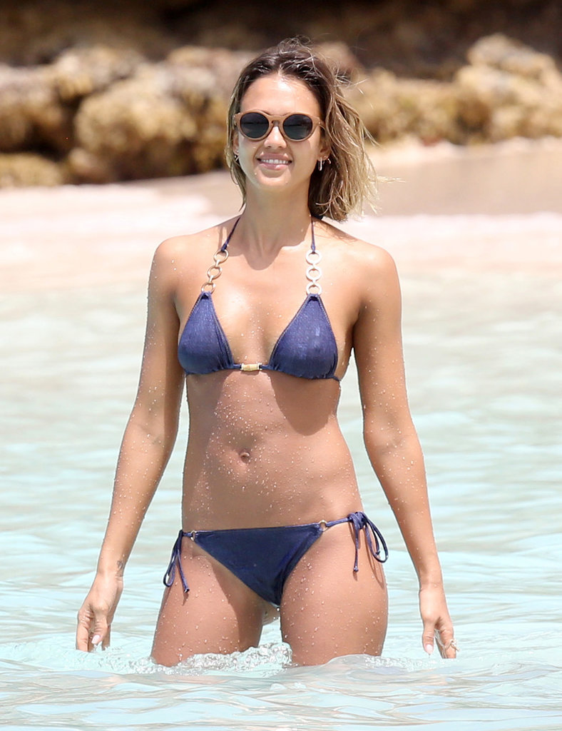 Jessica Alba flaunted her flawless figure during her Caribbean vacation in April.