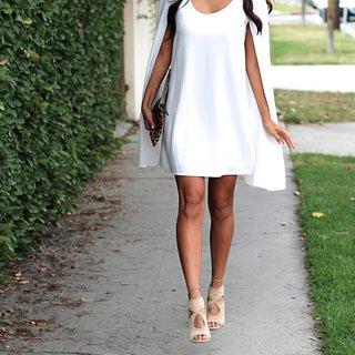 White Cape Dress Styling