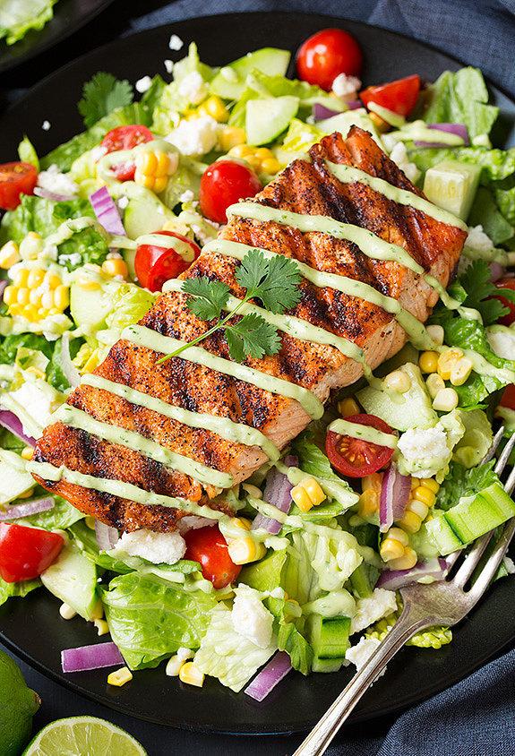 Mexican Salmon Salad With Avocado Greek Yogurt Ranch Dressing