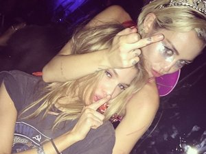 Miley Cyrus Kisses Victoria's Secret Model Stella Maxwell In Hollywood
