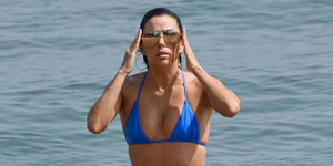Eva Longoria Hits The Beach In A Teeny Blue Bikini