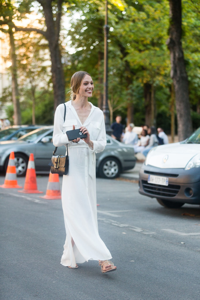 Take your cues from Sasha Pivovarova and embrace your angelic side in white.