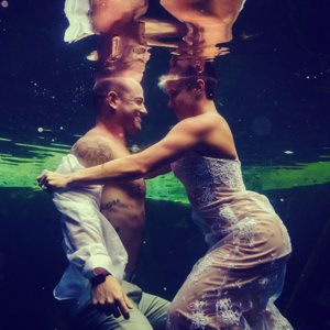 Underwater Trash-the-Wedding-Dress Shoot