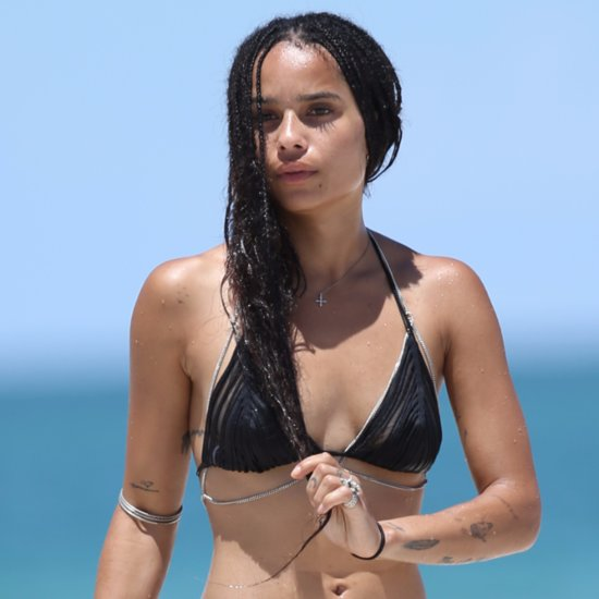 Zoe Kravitz Wearing Black Bikini in Miami Pictures